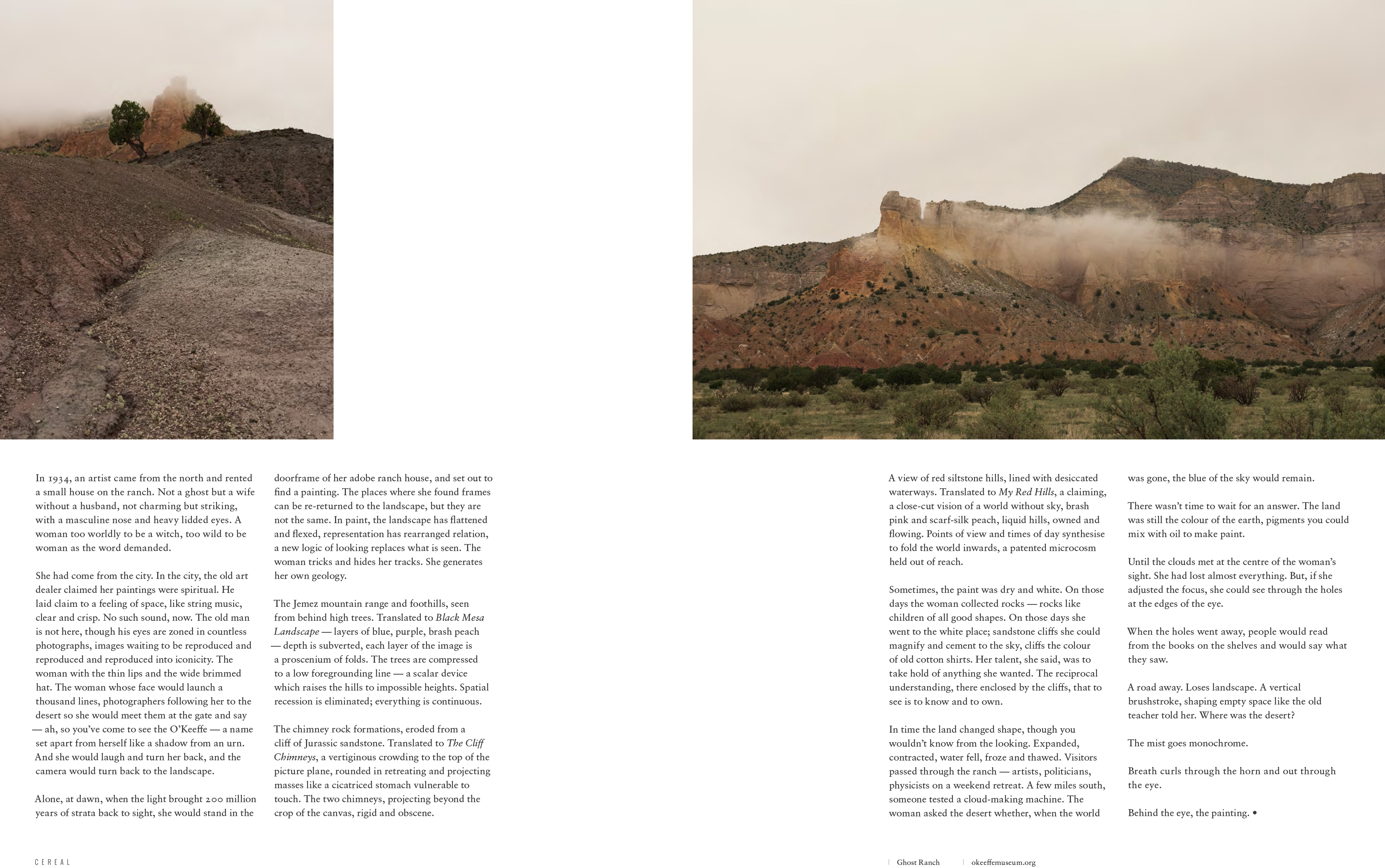 Georgia O'Keeffe, Cereal Magazine, Ghost Ranch, Justin Chung